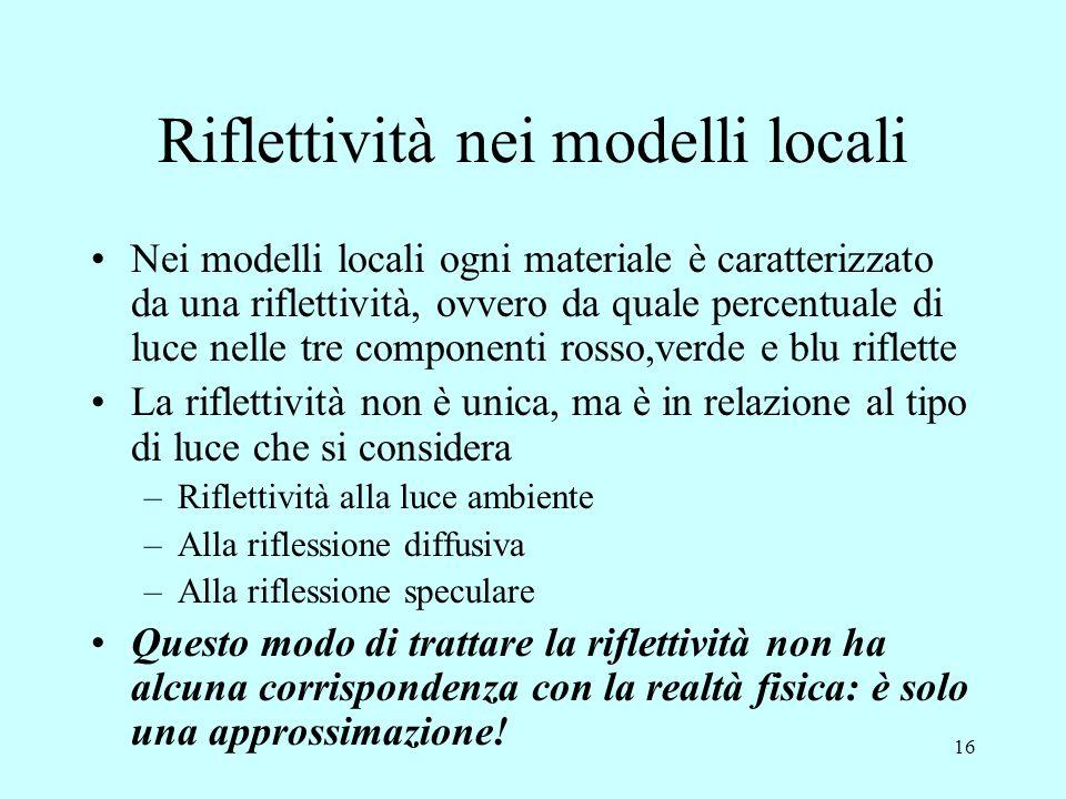 15 Riflessione nei modelli locali La riflessione è di tre tipi. Dati: N normale alla superficie, L direzione luce incidente, R direzione luce riflessa