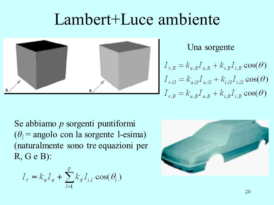 19 Calcolo RGB del modello di Lambert Il colore della superficie dipende dai tre valori di riflettività (k d,R k d,G k d,B ) e dal colore della sorgen