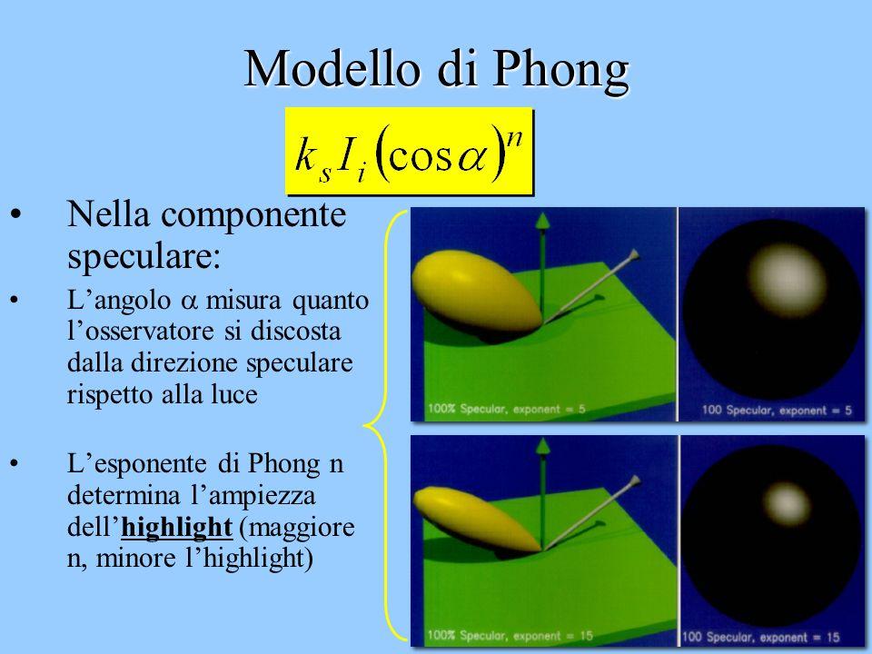 24 Modello di Phong Per il principio di conservazione dellenergia dovrebbe essere: k d + k s 1 Ovvero una superficie non può riflettere più luce di qu