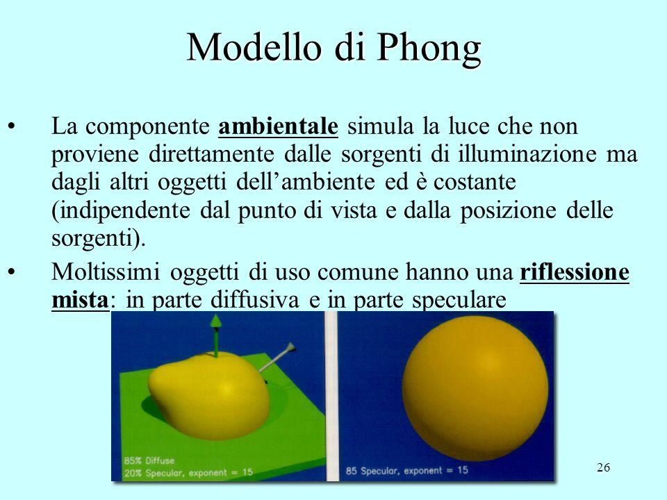 25 Modello di Phong Nella componente speculare: Langolo misura quanto losservatore si discosta dalla direzione speculare rispetto alla luce Lesponente