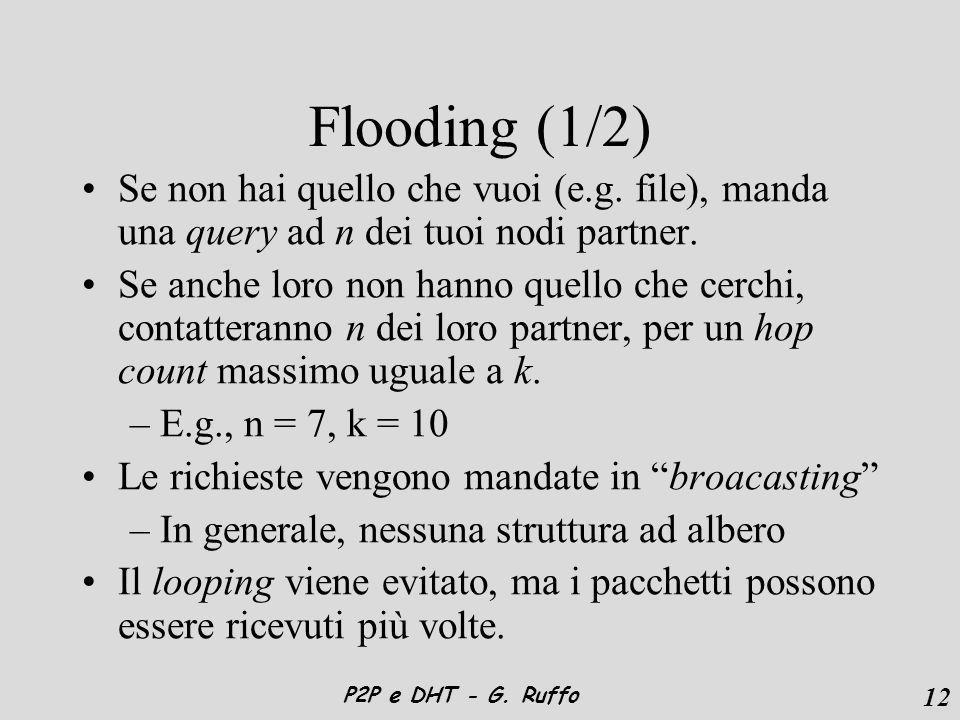 12 P2P e DHT - G. Ruffo Flooding (1/2) Se non hai quello che vuoi (e.g.