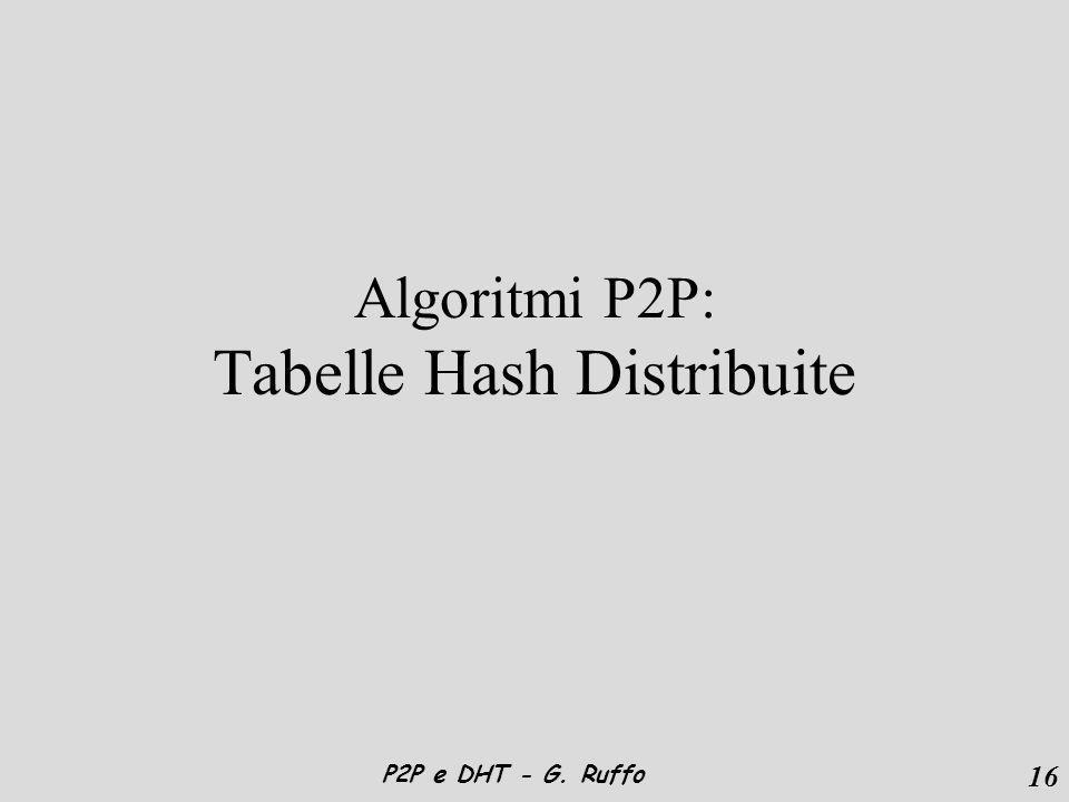 16 P2P e DHT - G. Ruffo Algoritmi P2P: Tabelle Hash Distribuite