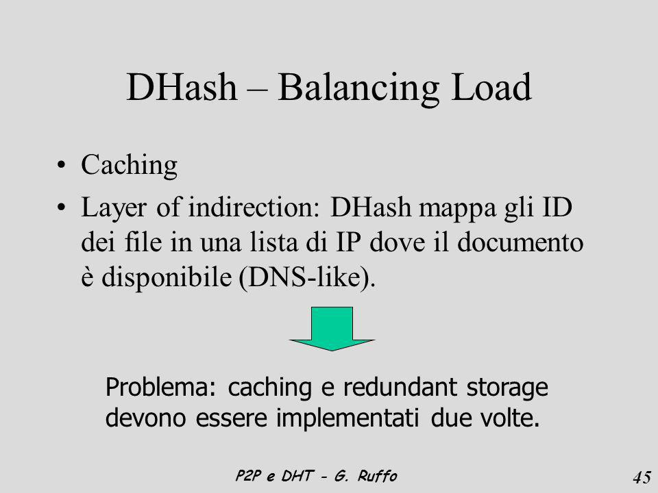 45 P2P e DHT - G. Ruffo DHash – Balancing Load Caching Layer of indirection: DHash mappa gli ID dei file in una lista di IP dove il documento è dispon