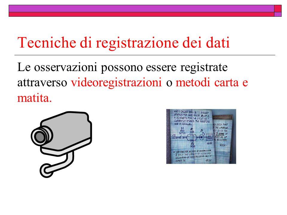 Tecniche di registrazione dei dati Le osservazioni possono essere registrate attraverso videoregistrazioni o metodi carta e matita.