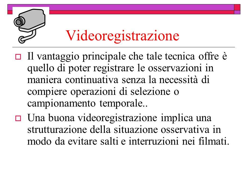 Videoregistrazione Il vantaggio principale che tale tecnica offre è quello di poter registrare le osservazioni in maniera continuativa senza la necessità di compiere operazioni di selezione o campionamento temporale..