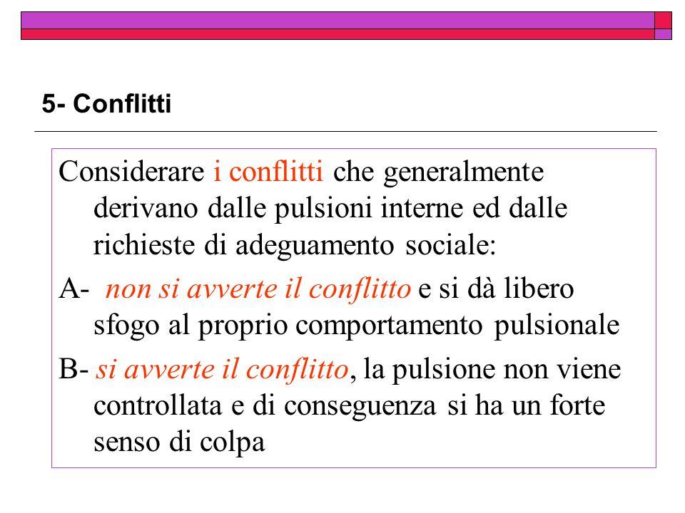 5- Conflitti Considerare i conflitti che generalmente derivano dalle pulsioni interne ed dalle richieste di adeguamento sociale: A- non si avverte il conflitto e si dà libero sfogo al proprio comportamento pulsionale B- si avverte il conflitto, la pulsione non viene controllata e di conseguenza si ha un forte senso di colpa
