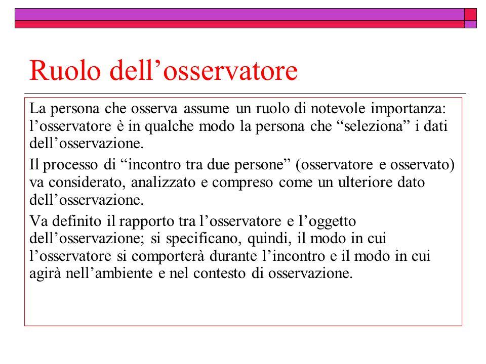 Ruolo dellosservatore La persona che osserva assume un ruolo di notevole importanza: losservatore è in qualche modo la persona che seleziona i dati dellosservazione.