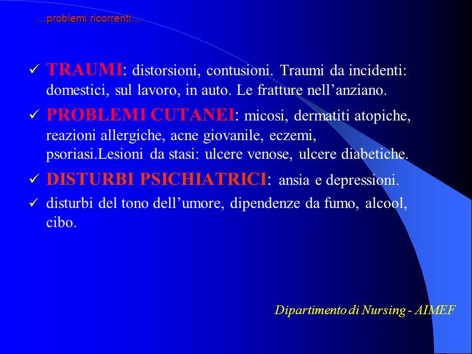 …problemi ricorrenti… TRAUMI: distorsioni, contusioni. Traumi da incidenti: domestici, sul lavoro, in auto. Le fratture nellanziano. PROBLEMI CUTANEI: