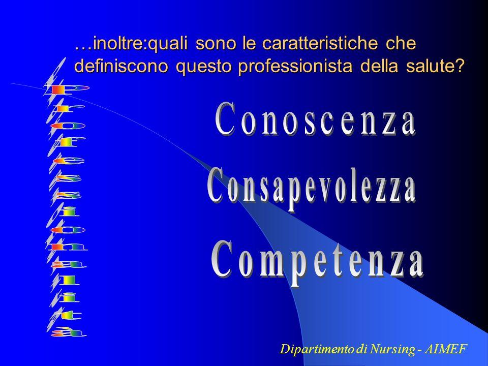 …inoltre:quali sono le caratteristiche che definiscono questo professionista della salute? Dipartimento di Nursing - AIMEF
