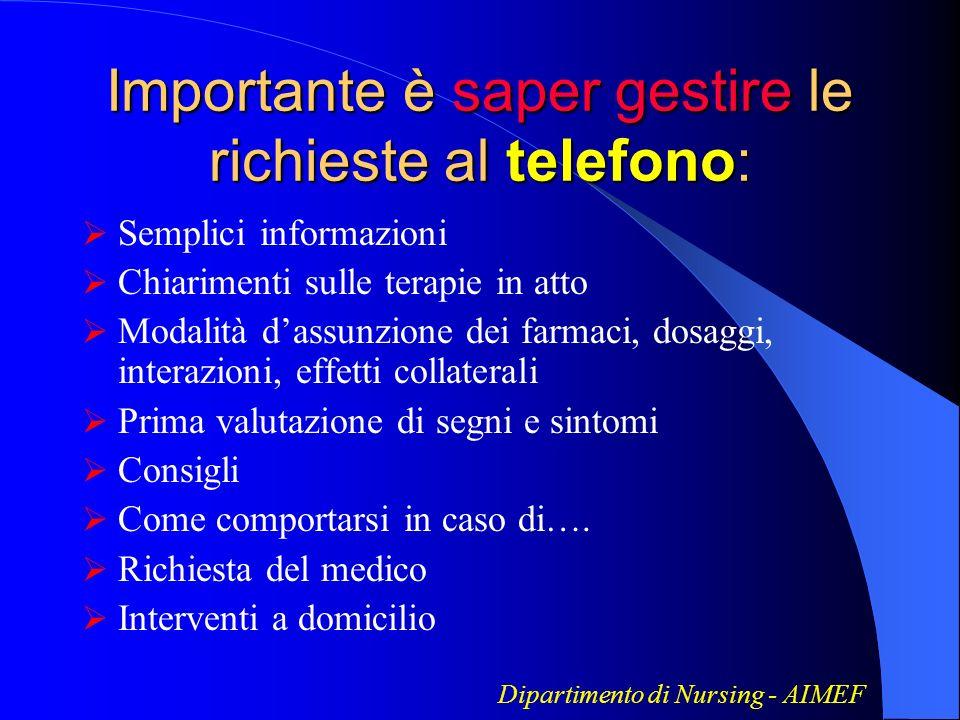 Importante è saper gestire le richieste al telefono: Semplici informazioni Chiarimenti sulle terapie in atto Modalità dassunzione dei farmaci, dosaggi