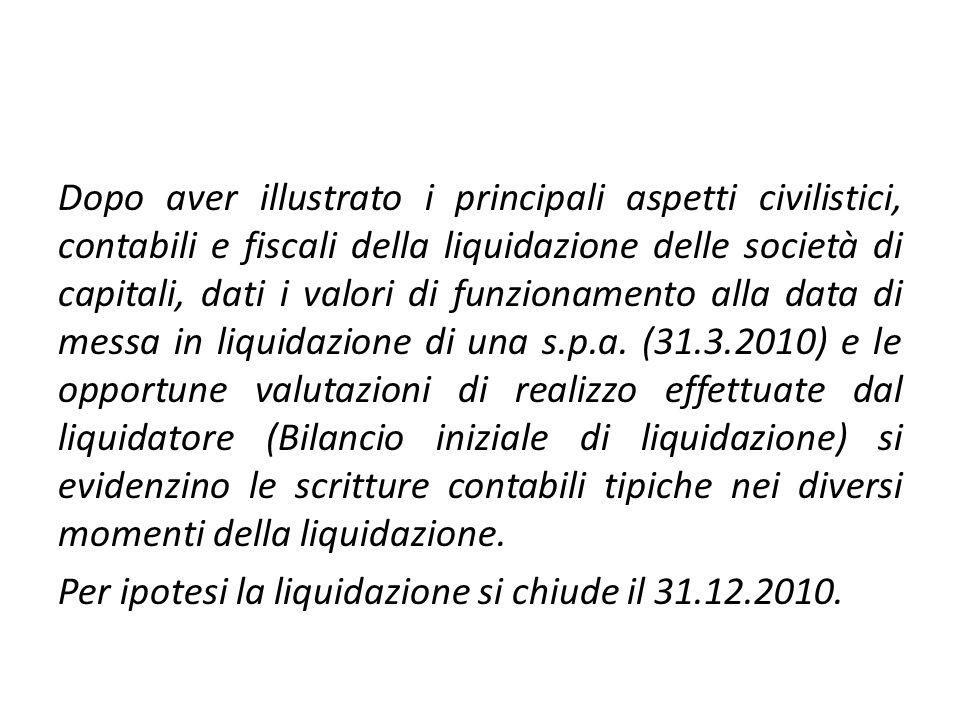 Caso pratico S.P. FINALE DI LIQUIDAZIONE AL 31.12.2010 BANCA2.580C.N. DI LIQUIDAZIONE2.580