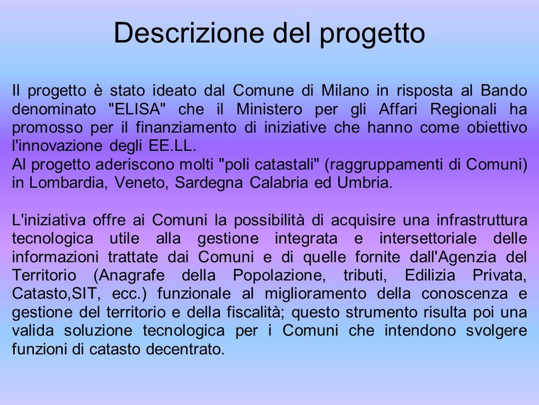 Descrizione del progetto Il progetto è stato ideato dal Comune di Milano in risposta al Bando denominato ELISA che il Ministero per gli Affari Regionali ha promosso per il finanziamento di iniziative che hanno come obiettivo l innovazione degli EE.LL.