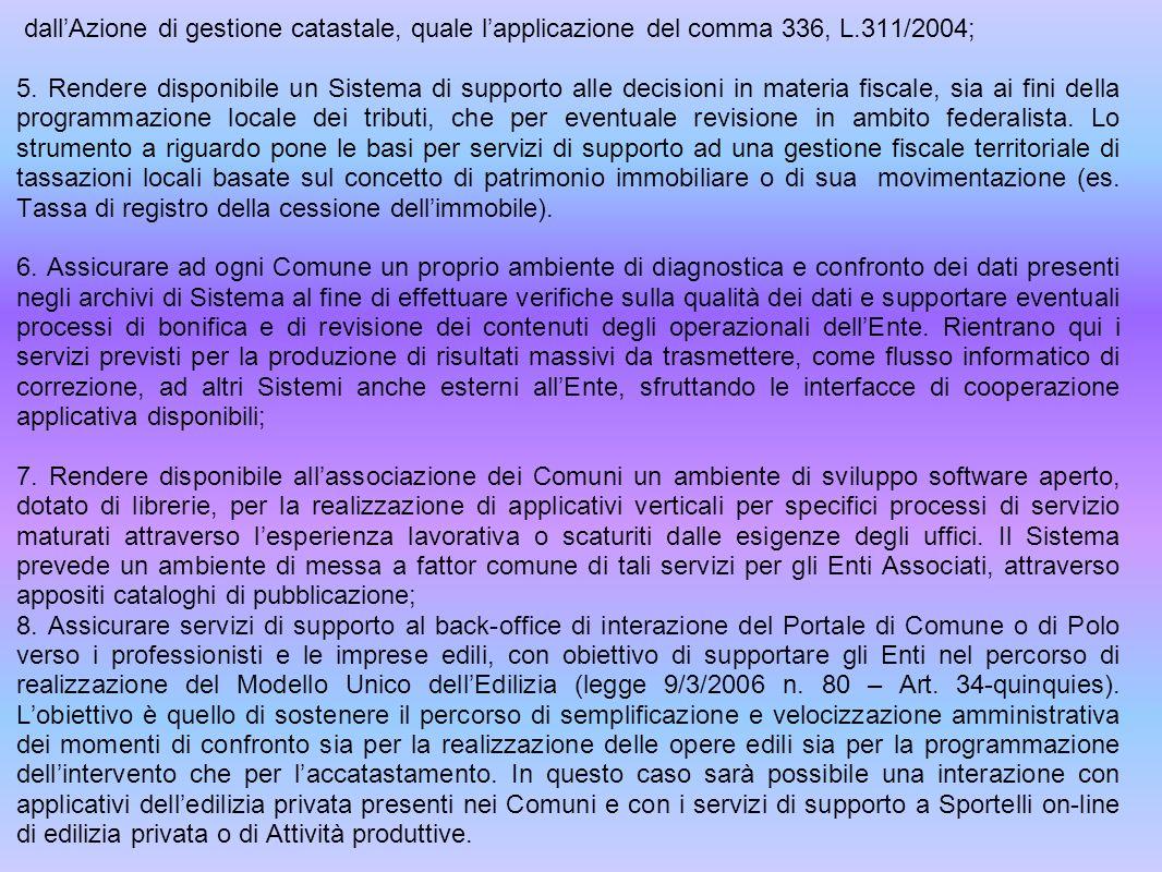 dallAzione di gestione catastale, quale lapplicazione del comma 336, L.311/2004; 5.