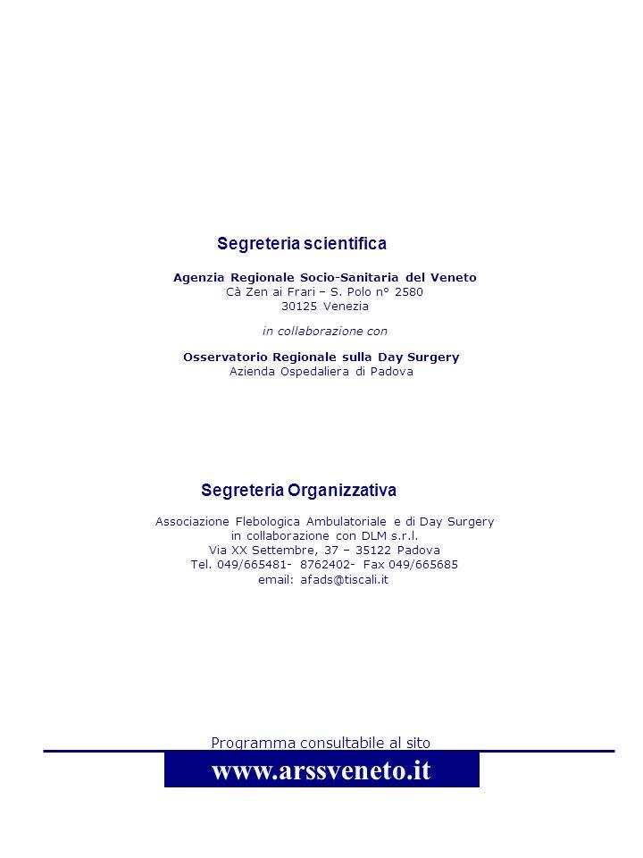 Agenzia Regionale Socio-Sanitaria del Veneto Cà Zen ai Frari – S. Polo n° 2580 30125 Venezia in collaborazione con Programma consultabile al sito www.