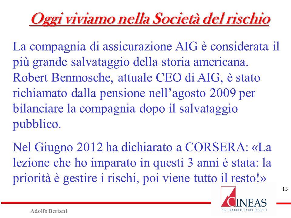 Adolfo Bertani 13 Oggi viviamo nella Società del rischio La compagnia di assicurazione AIG è considerata il più grande salvataggio della storia americana.