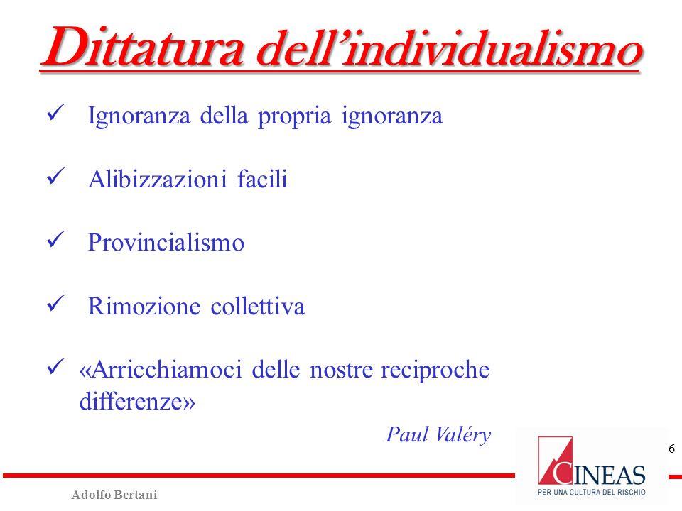 Adolfo Bertani 17 Progetto Abruzzo/DPC al 12/10/2012 Esaminate n° 17.606 pratiche (di cui «B/C» n°9.513 e «E» n° 8.093); Contributo definitivo Comune di LAquila (n°13.894 pratiche): Importo totale richiesto: 2.043 milioni di euro; Non ammissibile: 387 milioni di euro (di cui 98 milioni di euro in approfondimento), pari al 19% del richiesto; Costi Cineas: 7,4 milioni di euro (0,4% del totale richiesto).