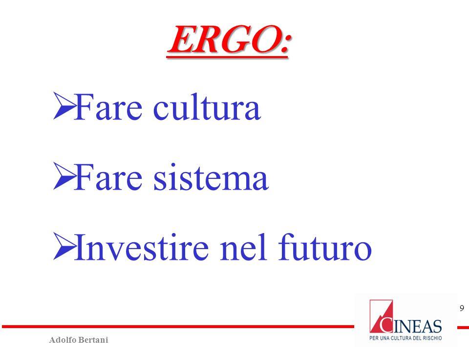 Adolfo Bertani 9 ERGO: Fare cultura Fare sistema Investire nel futuro