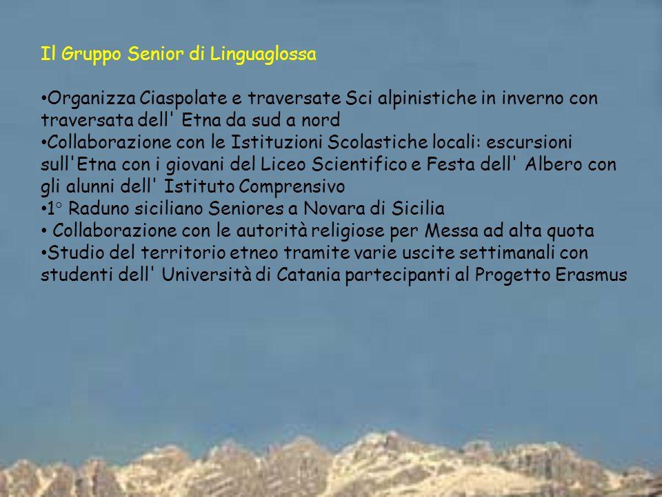 Il Gruppo Senior di Linguaglossa Organizza Ciaspolate e traversate Sci alpinistiche in inverno con traversata dell' Etna da sud a nord Collaborazione