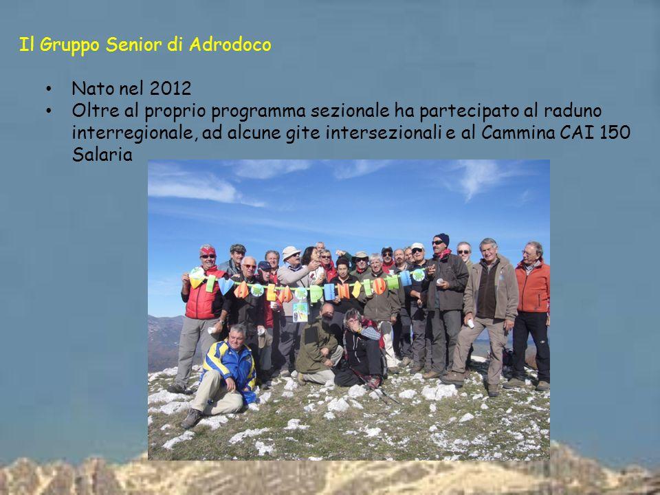 Il Gruppo Senior di Adrodoco Nato nel 2012 Oltre al proprio programma sezionale ha partecipato al raduno interregionale, ad alcune gite intersezionali e al Cammina CAI 150 Salaria