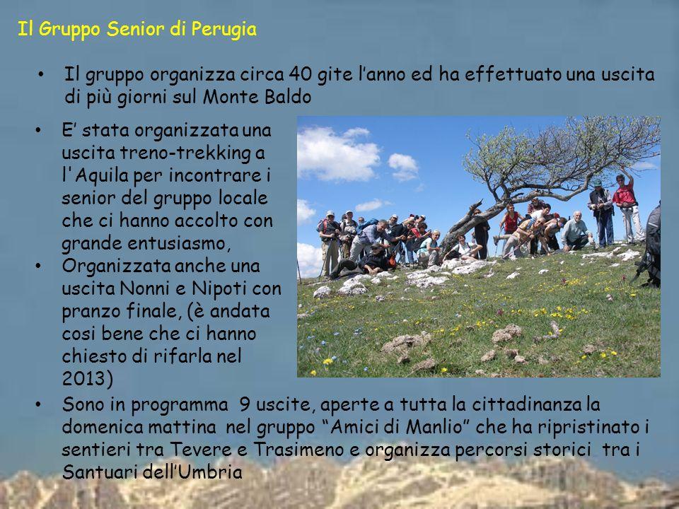 Il Gruppo Senior di Perugia Il gruppo organizza circa 40 gite lanno ed ha effettuato una uscita di più giorni sul Monte Baldo E stata organizzata una