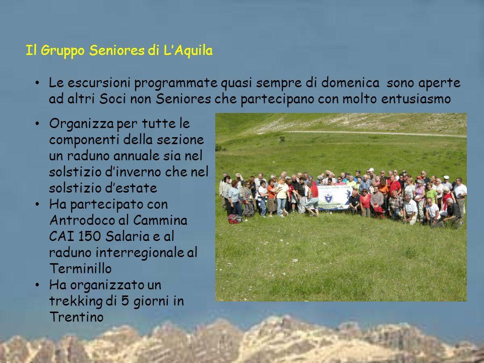 Il Gruppo Seniores di LAquila Le escursioni programmate quasi sempre di domenica sono aperte ad altri Soci non Seniores che partecipano con molto entu