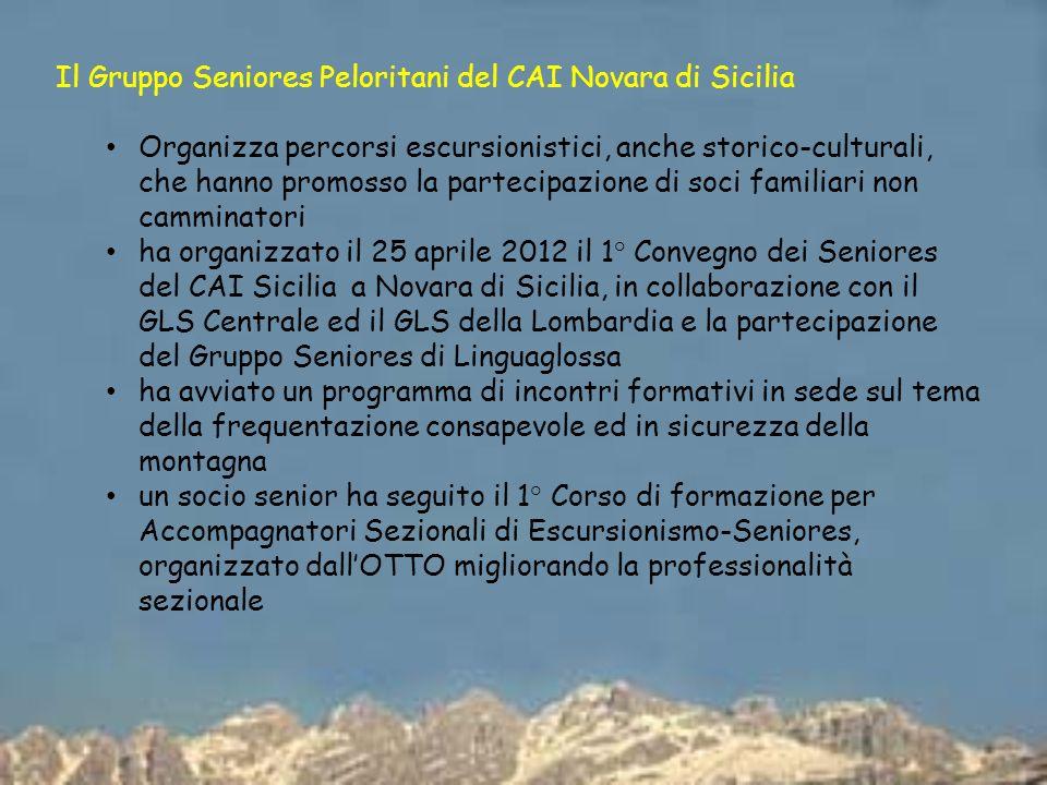 Il Gruppo Seniores Peloritani del CAI Novara di Sicilia Organizza percorsi escursionistici, anche storico-culturali, che hanno promosso la partecipazi