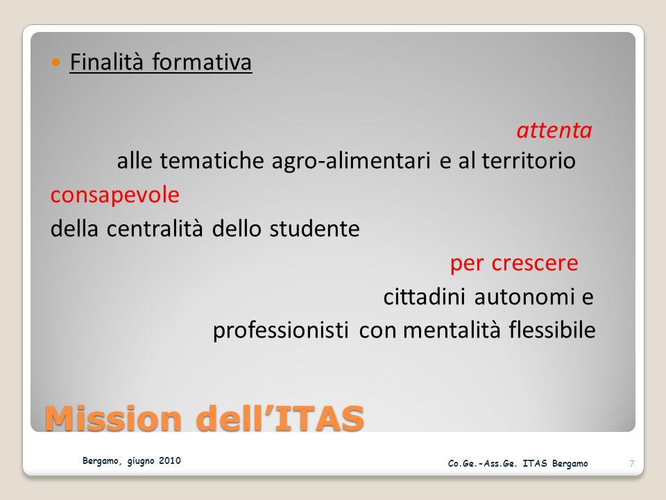 Mission dellITAS Finalità formativa attenta alle tematiche agro-alimentari e al territorio consapevole della centralità dello studente per crescere cittadini autonomi e professionisti con mentalità flessibile Bergamo, giugno 2010 7 Co.Ge.-Ass.Ge.