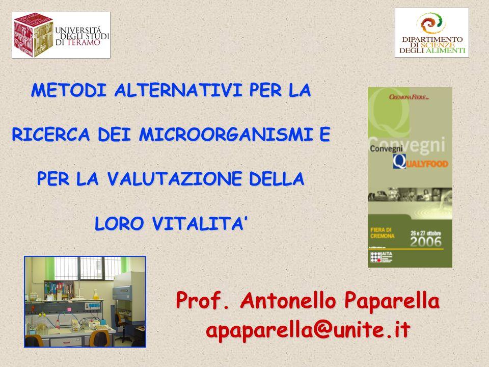 METODI ALTERNATIVI PER LA RICERCA DEI MICROORGANISMI E PER LA VALUTAZIONE DELLA LORO VITALITA Prof.