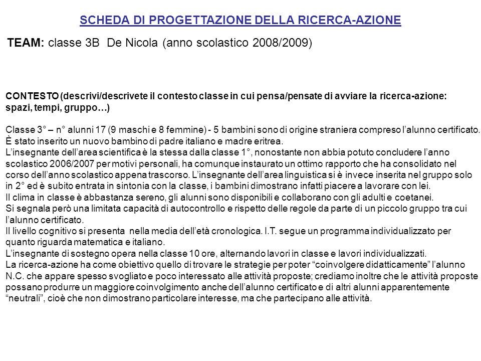 SCHEDA DI PROGETTAZIONE DELLA RICERCA-AZIONE TEAM: classe 3B De Nicola (anno scolastico 2008/2009) CONTESTO (descrivi/descrivete il contesto classe in