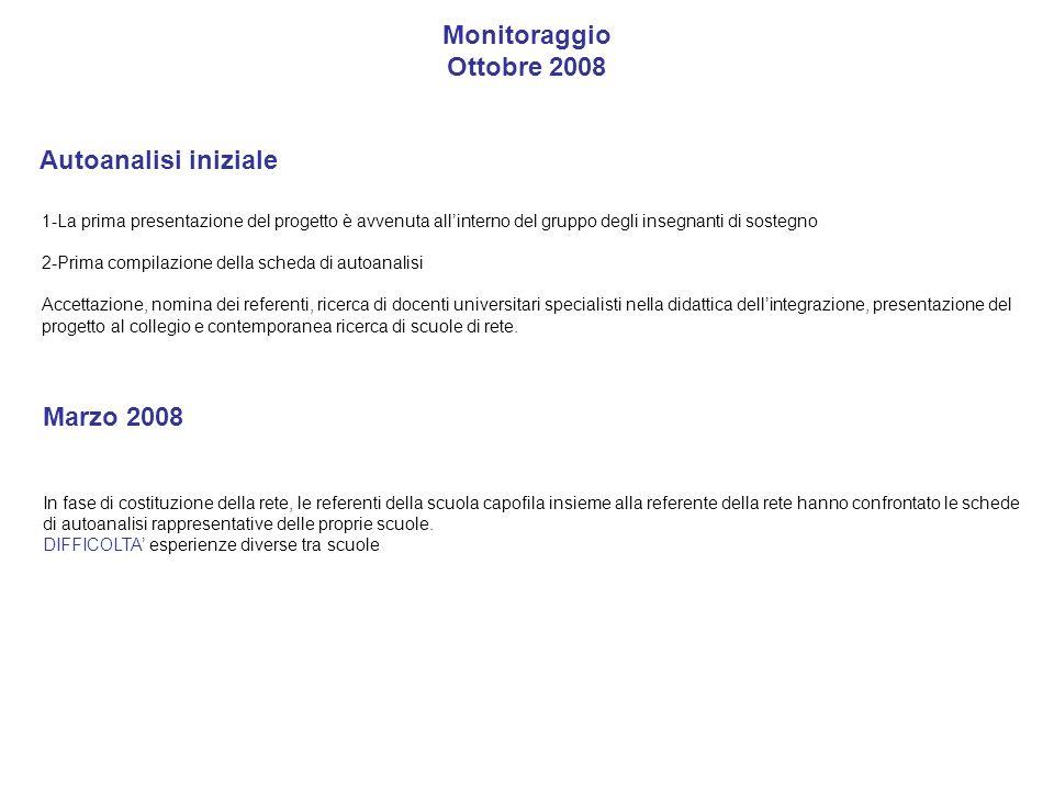 Monitoraggio Ottobre 2008 Autoanalisi iniziale 1-La prima presentazione del progetto è avvenuta allinterno del gruppo degli insegnanti di sostegno 2-P