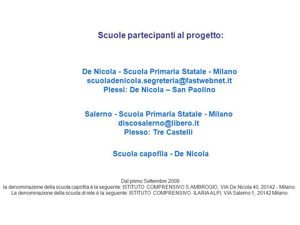 Scuole partecipanti al progetto: De Nicola - Scuola Primaria Statale - Milano scuoladenicola.segreteria@fastwebnet.it Plessi: De Nicola – San Paolino