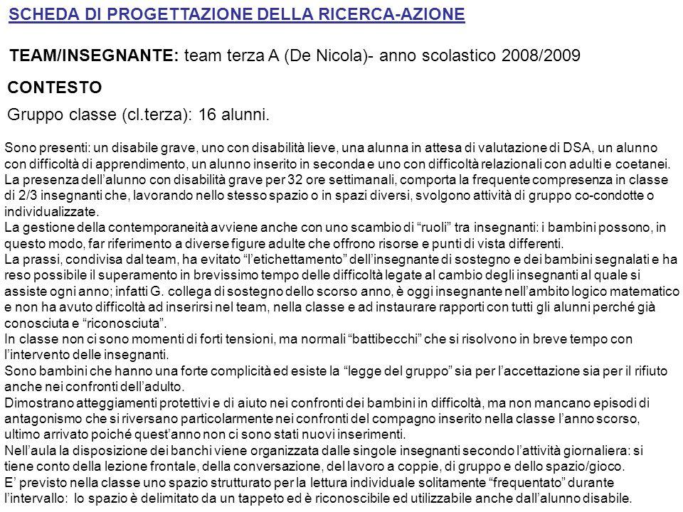 SCHEDA DI PROGETTAZIONE DELLA RICERCA-AZIONE TEAM/INSEGNANTE: team terza A (De Nicola)- anno scolastico 2008/2009 CONTESTO Gruppo classe (cl.terza): 1