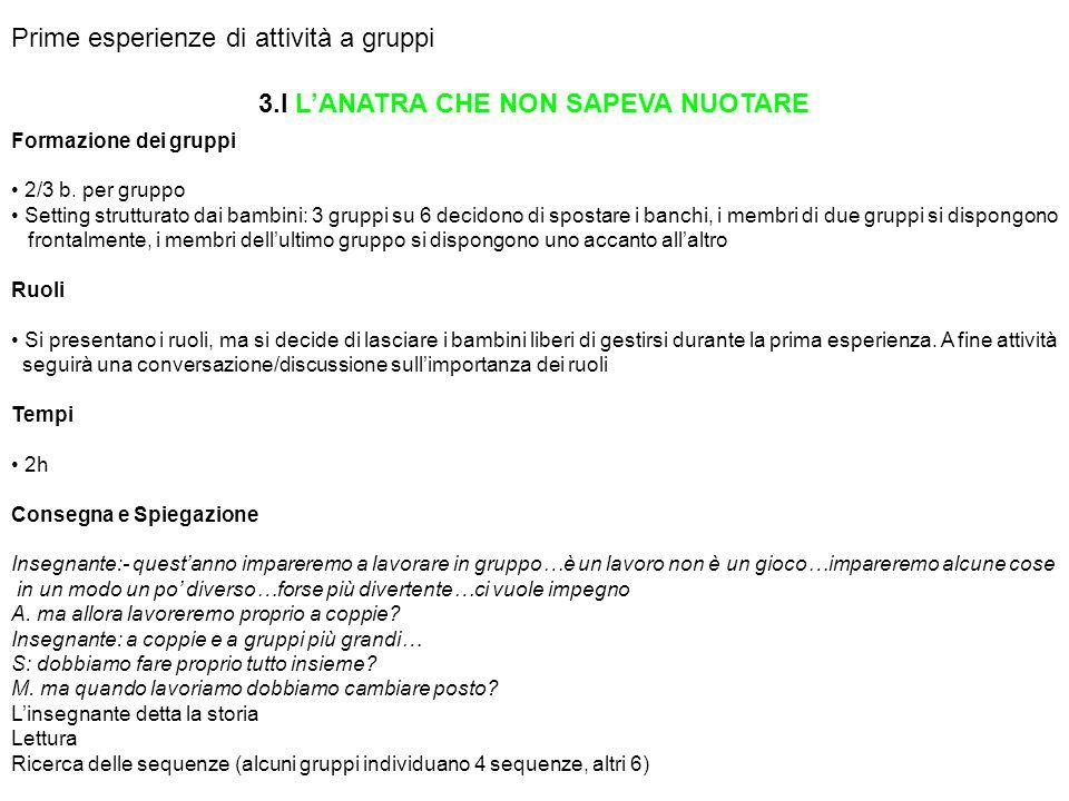 Prime esperienze di attività a gruppi 3.I LANATRA CHE NON SAPEVA NUOTARE Formazione dei gruppi 2/3 b. per gruppo Setting strutturato dai bambini: 3 gr