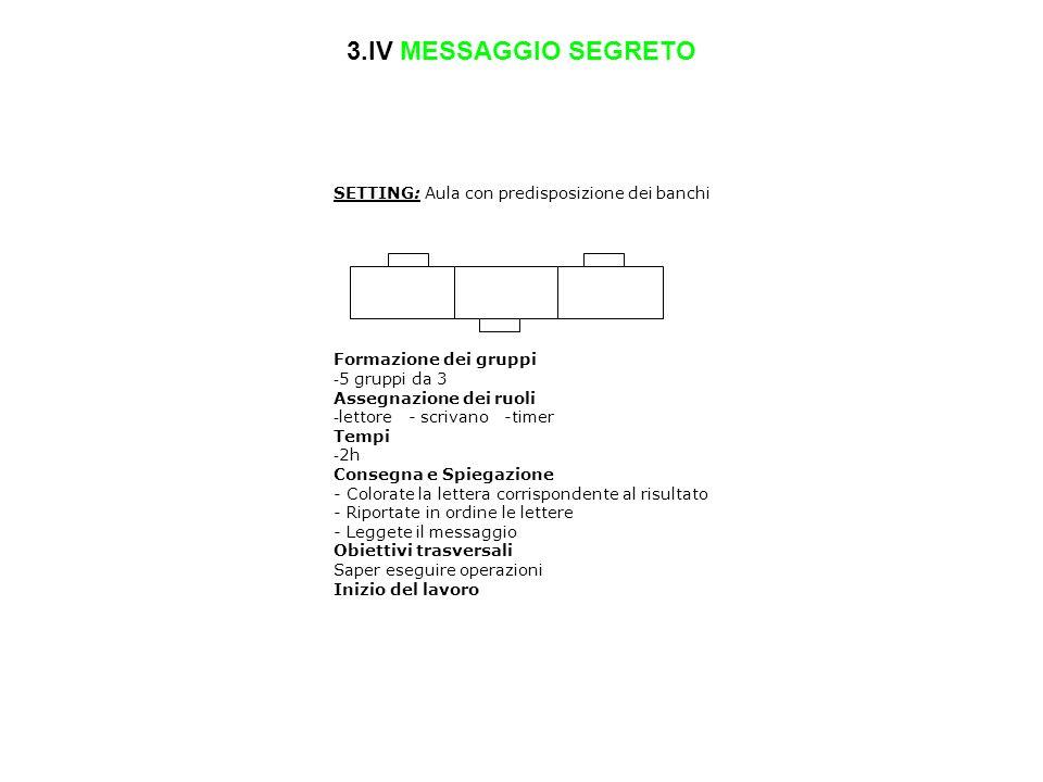 3.IV MESSAGGIO SEGRETO SETTING: Aula con predisposizione dei banchi Formazione dei gruppi - 5 gruppi da 3 Assegnazione dei ruoli - lettore - scrivano