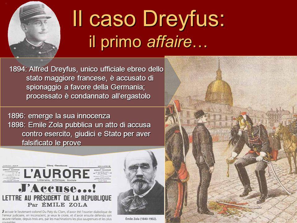 Il caso Dreyfus: il primo affaire… 1894: Alfred Dreyfus, unico ufficiale ebreo dello stato maggiore francese, è accusato di spionaggio a favore della