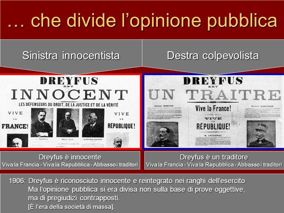 … che divide lopinione pubblica Sinistra innocentista Destra colpevolista Dreyfus è innocente Viva la Francia - Viva la Repubblica - Abbasso i tradito
