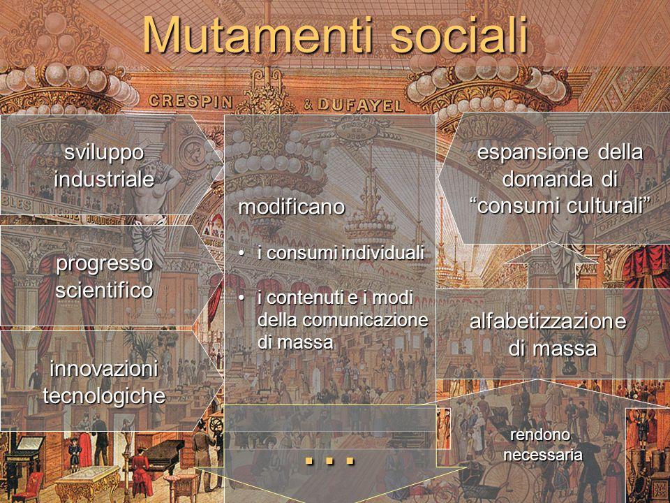 Mutamenti sociali sviluppoindustriale progresso scientifico modificano i consumi individualii consumi individuali i contenuti e i modi della comunicaz