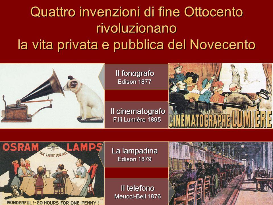 Quattro invenzioni di fine Ottocento rivoluzionano la vita privata e pubblica del Novecento Il telefono Meucci-Bell 1876 Il cinematografo F.lli Lumièr