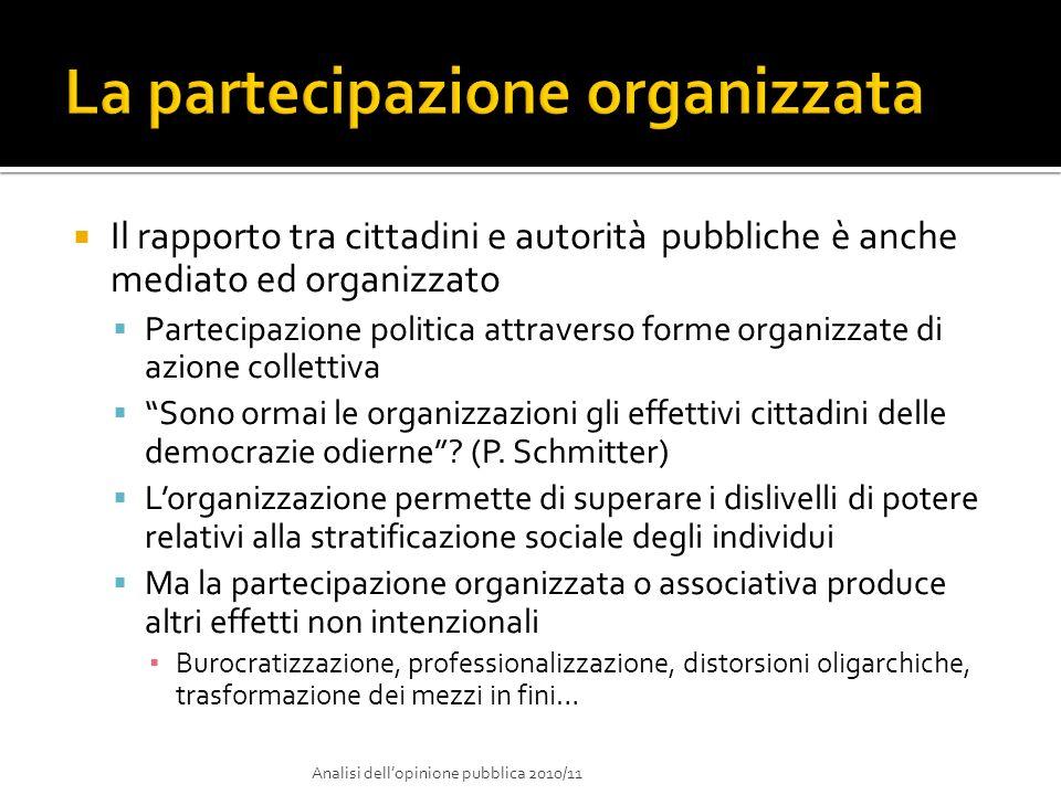 Il rapporto tra cittadini e autorità pubbliche è anche mediato ed organizzato Partecipazione politica attraverso forme organizzate di azione collettiv
