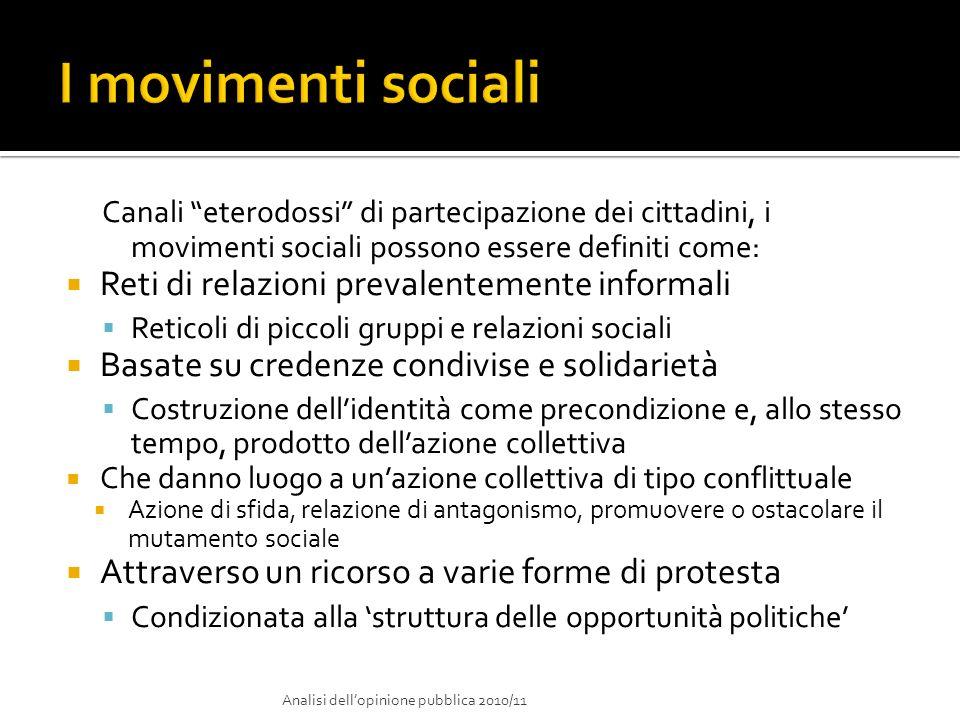 Canali eterodossi di partecipazione dei cittadini, i movimenti sociali possono essere definiti come: Reti di relazioni prevalentemente informali Retic
