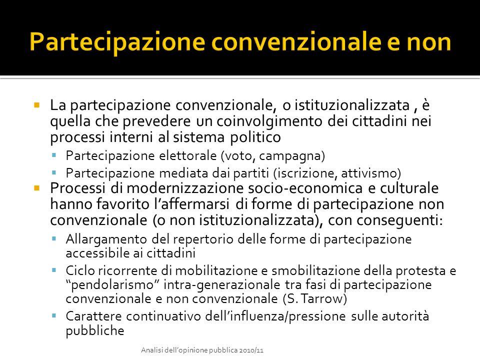 La partecipazione convenzionale, o istituzionalizzata, è quella che prevedere un coinvolgimento dei cittadini nei processi interni al sistema politico