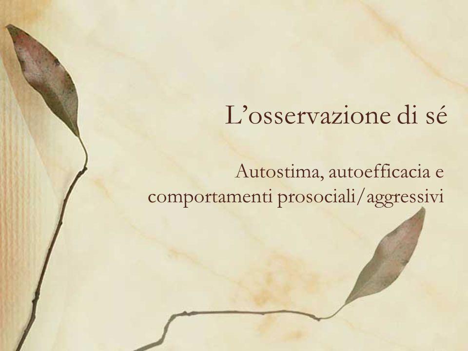 Losservazione di sé Autostima, autoefficacia e comportamenti prosociali/aggressivi