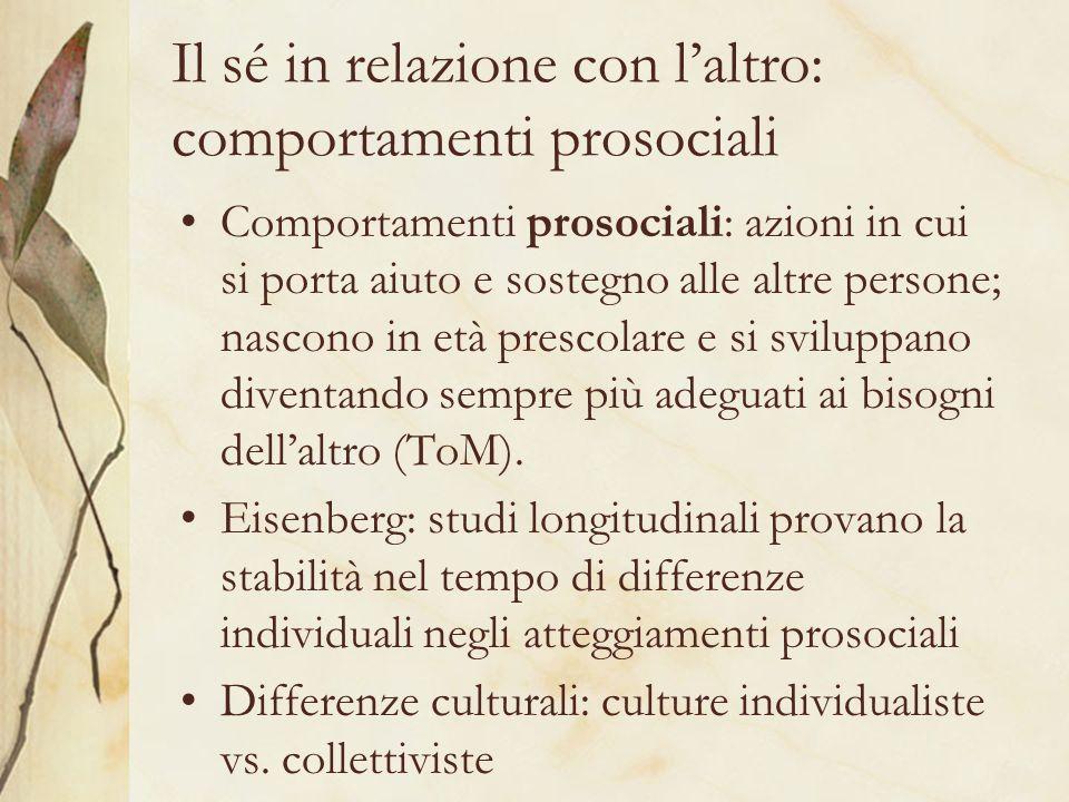 Il sé in relazione con laltro: comportamenti prosociali Comportamenti prosociali: azioni in cui si porta aiuto e sostegno alle altre persone; nascono