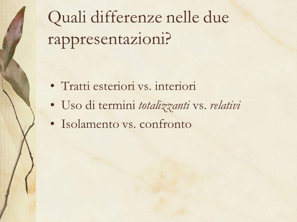 Quali differenze nelle due rappresentazioni? Tratti esteriori vs. interiori Uso di termini totalizzanti vs. relativi Isolamento vs. confronto