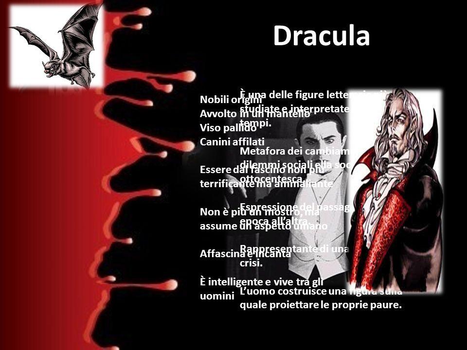 Dracula È una delle figure letterarie più studiate e interpretate di tutti i tempi. Metafora dei cambiamenti e dei dilemmi sociali ella società ottoce