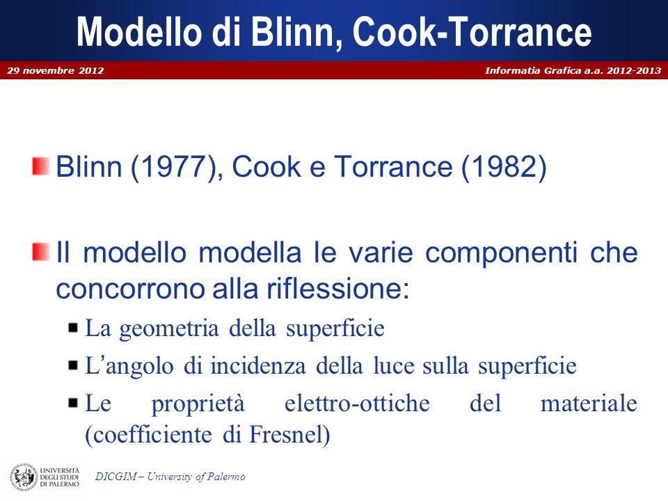 Informatia Grafica a.a. 2012-2013 DICGIM – University of Palermo Modello di Blinn, Cook-Torrance Blinn (1977), Cook e Torrance (1982) Il modello model