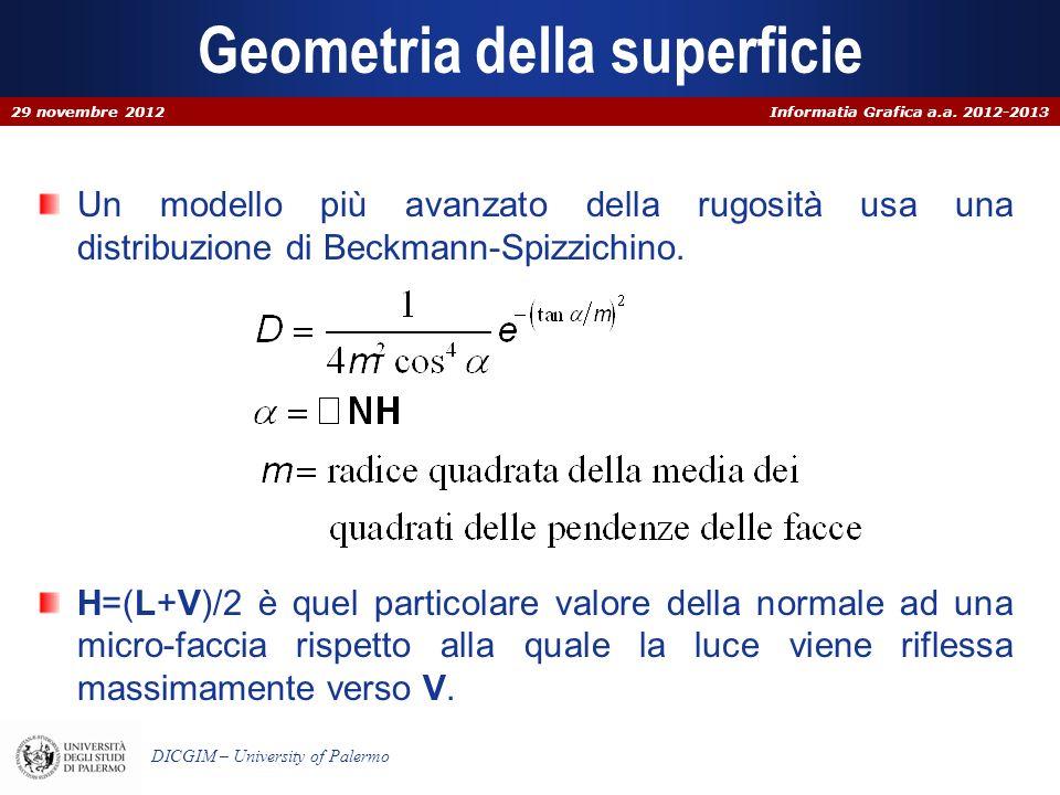 Informatia Grafica a.a. 2012-2013 DICGIM – University of Palermo Geometria della superficie Un modello più avanzato della rugosità usa una distribuzio