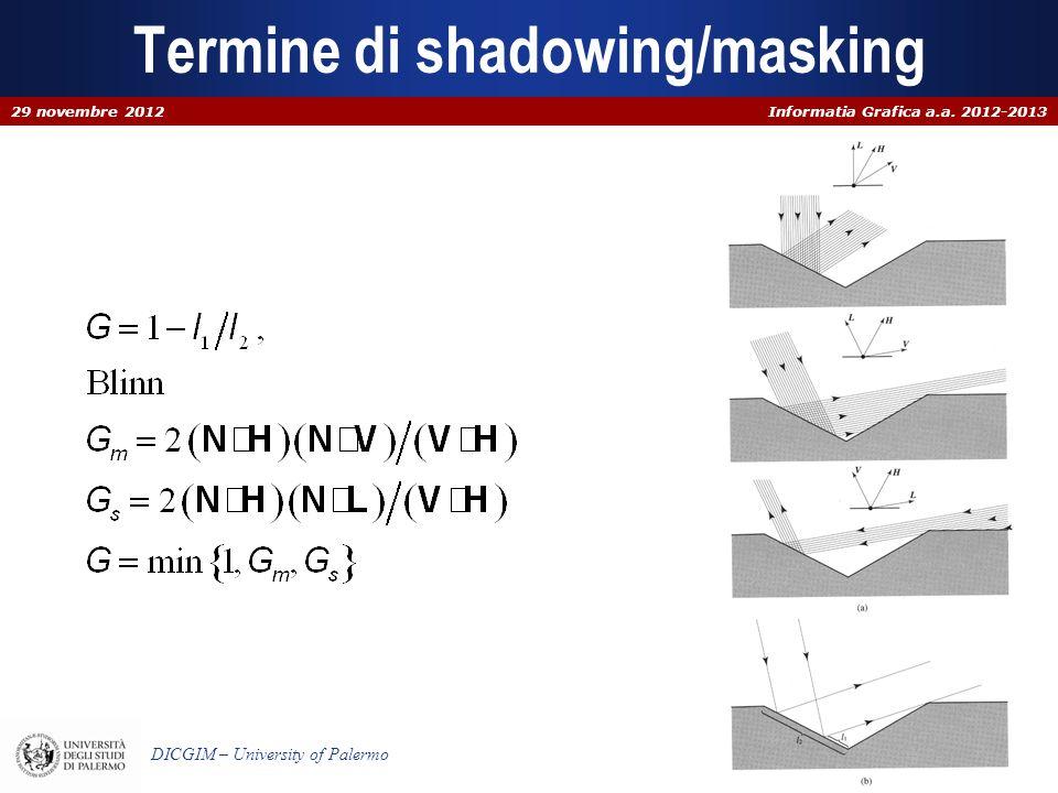 Informatia Grafica a.a. 2012-2013 DICGIM – University of Palermo Termine di shadowing/masking 29 novembre 2012