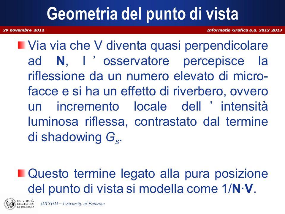 Informatia Grafica a.a. 2012-2013 DICGIM – University of Palermo Geometria del punto di vista Via via che V diventa quasi perpendicolare ad N, losserv