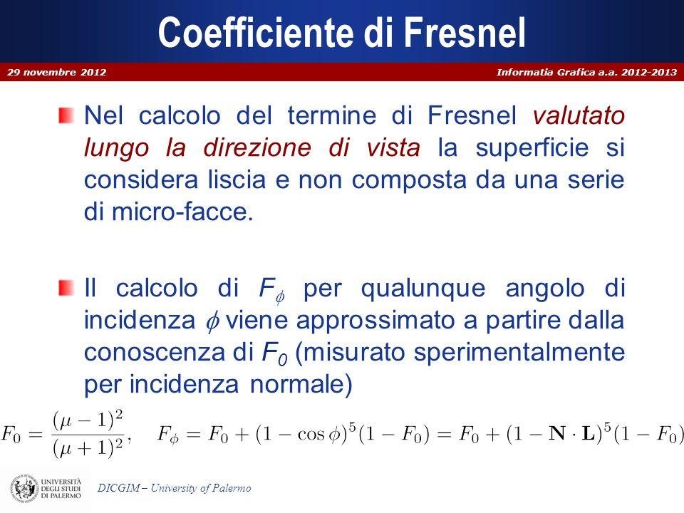 Informatia Grafica a.a. 2012-2013 DICGIM – University of Palermo Coefficiente di Fresnel Nel calcolo del termine di Fresnel valutato lungo la direzion